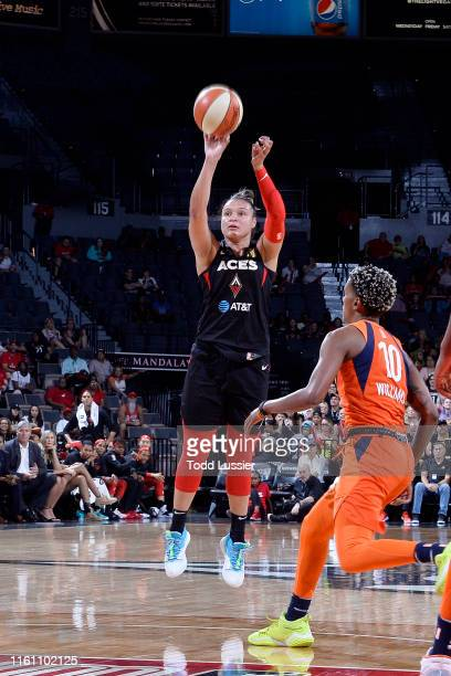 Las Vegas Aces guard Kayla McBride shoots the ball during the game against the Connecticut Sun on August 11 2019 at the Mandalay Bay Events Center in...