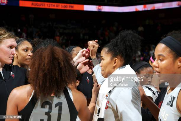 Las Vegas Aces huddle after the game against the Connecticut Sun on August 5 2018 at the Mohegan Sun Arena in Uncasville Connecticut NOTE TO USER...