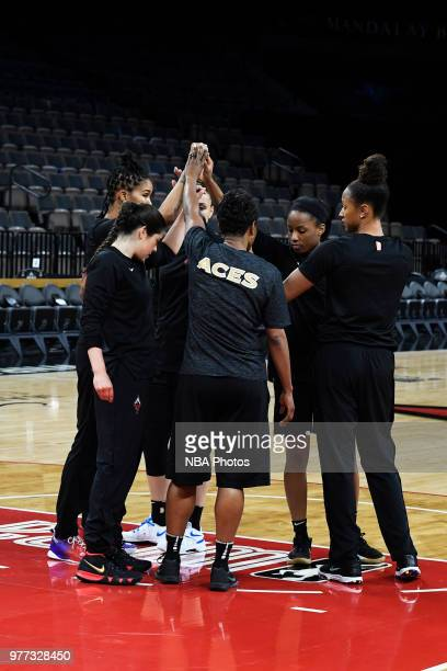 Kelsey Plum of the Las Vegas Aces looks on during the game against the Phoenix Mercury on June 17 2018 at the Mandalay Bay Events Center in Las Vegas...