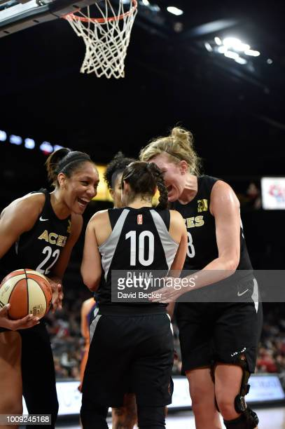 Las Vegas Aces react during game against the Phoenix Mercury on August 1 2018 at the Mandalay Bay Events Center in Las Vegas Nevada NOTE TO USER User...