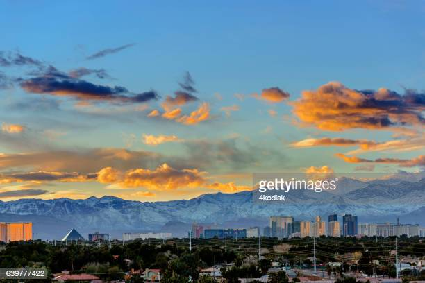 las vegas at dusk in winter - mt charleston stock photos and pictures