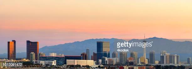 las vegas at sunset - las vegas stock pictures, royalty-free photos & images
