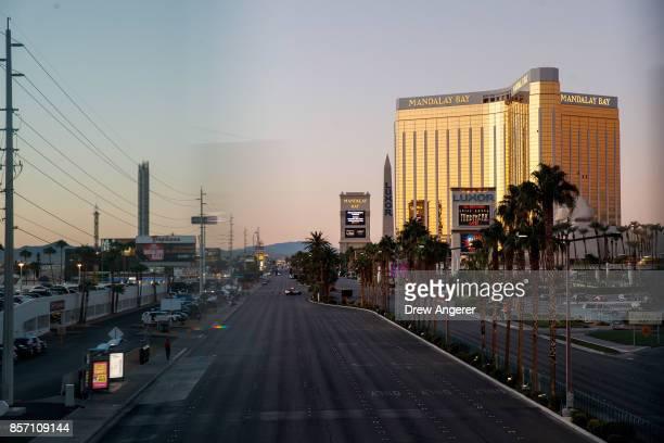 Las Vegas Blvd remained closed to vehicular traffic near the scene of Sunday night's mass shooting October 3 2017 in Las Vegas Nevada The gunman...