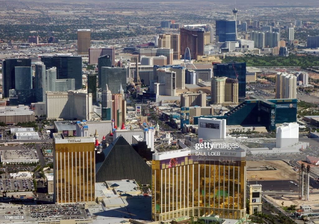 Las Vegas Boulevard, also known as the Las Vegas Strip, including the Mandalay Bay, the Luxor, MGM Grand, other hotels and casinos that are part of the Las Vegas skyline, are seen in this aerial photograph over Las Vegas, Nevada, on September 5, 2013. AFP PHOTO / Saul LOEB
