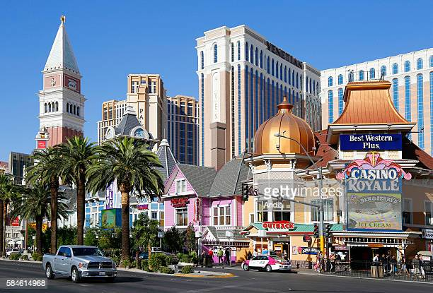 Casino Resorts and luxury boutiques with modern architecture along the Las Vegas Boulevard known as the Las Vegas Strip one of the city's main...