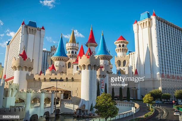 las vegas colorful turrets of exalibur casino hotel resort nevada - excalibur stock photos and pictures