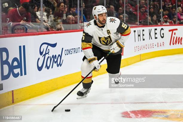 Las Vegas Golden Knights defenceman Deryk Engelland skates with the puck in the far end of his zone during the Las Vegas Golden Knights versus the...