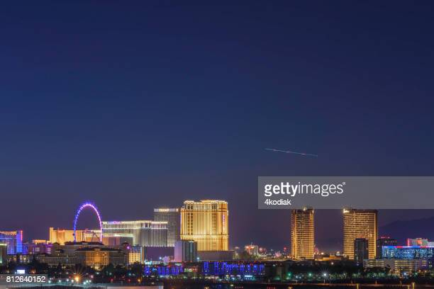 las vegas hotel casino buildings after sunset - mccarran international airport stock photos and pictures