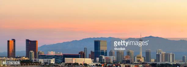 Las Vegas Hotel Casino Buildings Panorama at sunrise
