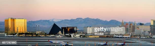 Las Vegas Hotel Casino Buildings Panorama at sunrise