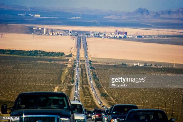 Las vegas Interestate 15 highway, overlooking the city