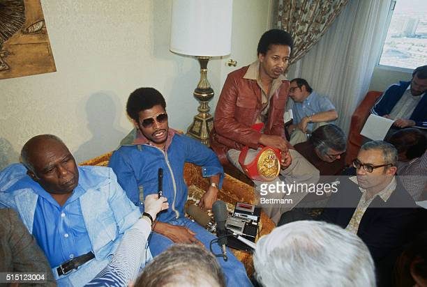 Las Vegas: Leon Spinks holds brief press conference in his hotel room after his defeat of Muhammad Ali for the world heavyweight crown.
