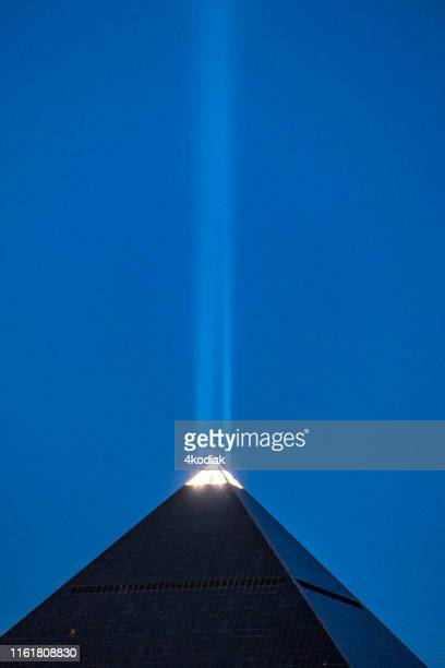 las vegas luxor hotel casino in the evening hour - luxor hotel stock pictures, royalty-free photos & images