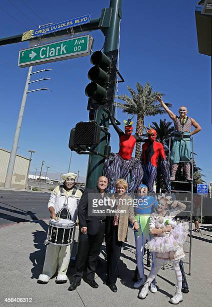 Las Vegas Mayor Carolyn Goodman and Vice President of Cirque du Soleil Resident Shows Division Calum Pearson join Cirque du Soleil artists to unveil...