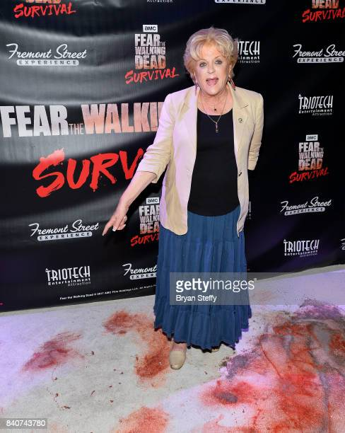 Las Vegas Mayor Carolyn Goodman attends the Fear the Walking Dead Survival attraction grand opening at the Fremont Street Experience on August 29...