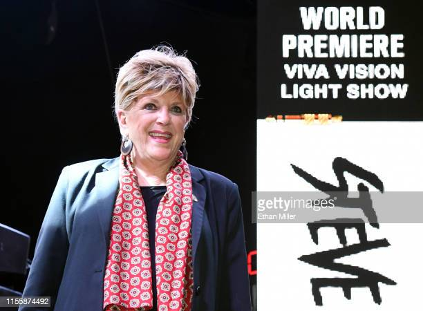 Las Vegas Mayor Carolyn Goodman introduces the worldwide premiere of the new Viva Vision light show featuring a sixminute musical montage of...