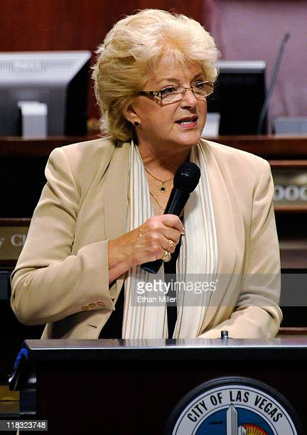 Las Vegas Mayor Carolyn Goodman leads a Las Vegas City Council meeting after she was sworn in by her husband outgoing Las Vegas Mayor Oscar Goodman...
