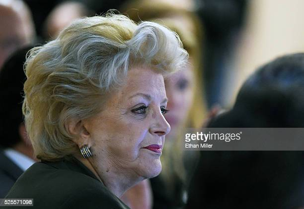 Las Vegas Mayor Carolyn Goodman listens during a Southern Nevada Tourism Infrastructure Committee meeting at UNLV with Oakland Raiders owner Mark...