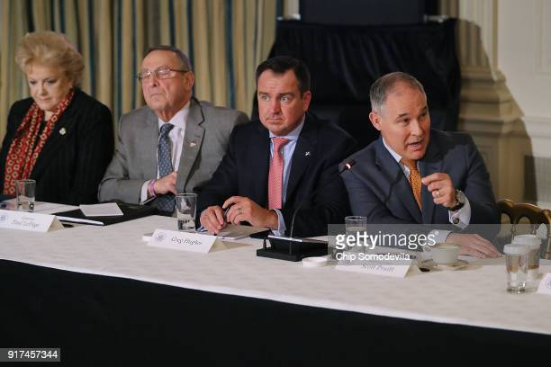 Las Vegas Mayor Carolyn Goodman Maine Governor Paul LePage Utah Speaker of the House Greg Hughes EPA Administrator Scott Pruitt attend a meeting with...