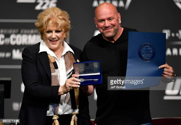 Las Vegas mayor Carolyn Goodman presents UFC president Dana White with a ceremonial key to the city during the UFC 226 Press Conference inside The...