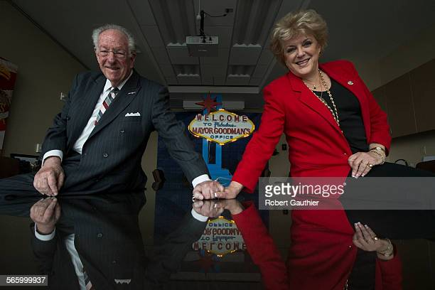 Las Vegas Mayor Carolyn Goodman right works in the shadow of her predecessor long time Mayor Oscar Goodman