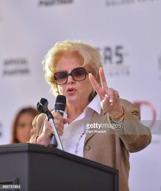 Las Vegas Mayor Carolyn Goodman speaks at an announcement at the Fremont Street Experience on June 13 2017 in Las Vegas Nevada The Vegas Golden...