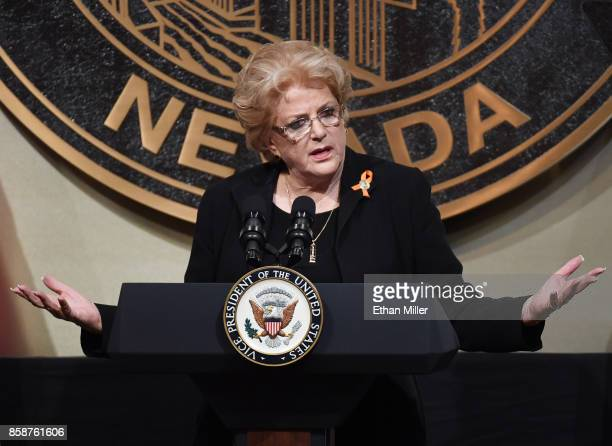 Las Vegas Mayor Carolyn Goodman speaks at the culmination of a faith unity walk held to help the community heal after Sunday's mass shooting at Las...