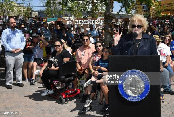 Las Vegas Mayor Carolyn Goodman speaks at the Nathan Adelson Hospice Route 91 Remembrance ceremony at the Las Vegas Community Healing Garden in...