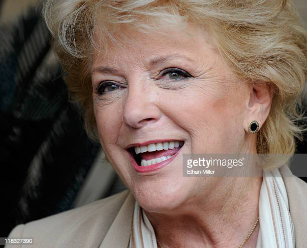 Las Vegas Mayor Carolyn Goodman speaks during a news conference after she was sworn in by her husband outgoing Las Vegas Mayor Oscar Goodman at Las...