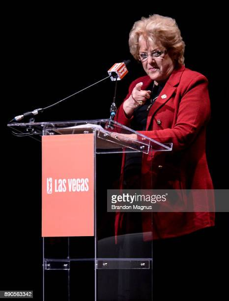 Las Vegas Mayor Carolyn Goodman speaks during a news conference as the WNBA and MGM Resorts International announce the Las Vegas Aces as the name of...