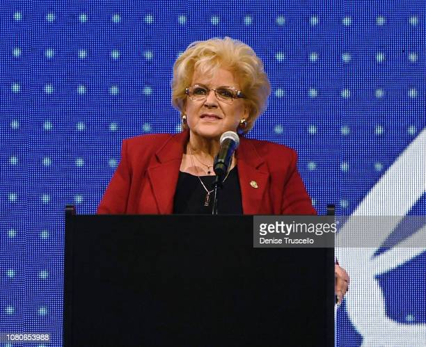 Las Vegas Mayor Carolyn Goodman speaks during the debut of Circa Resort Casino in downtown Las Vegas in 2020 at Downtown Las Vegas Events Center on...