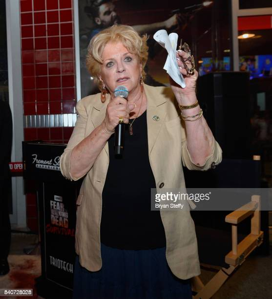Las Vegas Mayor Carolyn Goodman speaks during the grand opening of the Fear the Walking Dead Survival attraction at the Fremont Street Experience on...