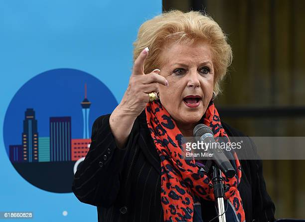 Las Vegas Mayor Carolyn Goodman speaks during the Regional Transportation Commission of Southern Nevada's launch of RTC Bike Share outside the...