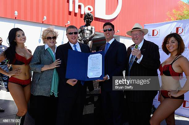 Las Vegas Mayor Carolyn Goodman The D Las Vegas coowners Derek Stevens and Greg Stevens and Former Las Vegas Mayor/Chairman of the Las Vegas Host...