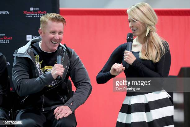 Las Vegas Metro Police Officer Sgt Ryan Cook and Rock 'n' Roll Marathon race announcer Ann Wessling share a laugh during a press conference at the...