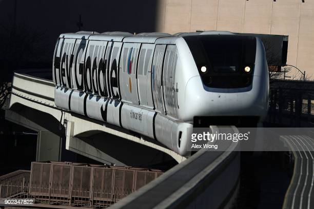 Las Vegas Monorail car with a Google ad is seen running prior to the CES 2018 on January 7 2018 in Las Vegas Nevada CES the world's largest annual...