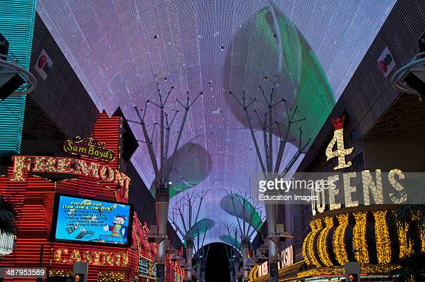 Las Vegas, Nevada, Fremont street experience light show in downtown Vegas.