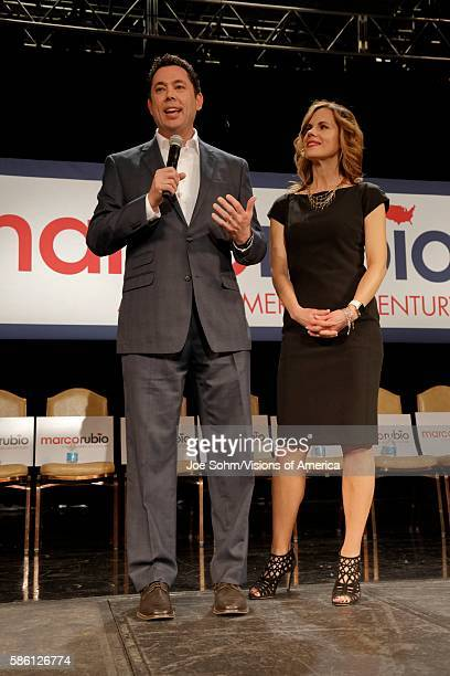 Las Vegas Nevada US Rep Jason Chaffetz and wife Julie Chaffetz supporters stump for Republican presidential candidate Sen Marco Rubio at a rally at...