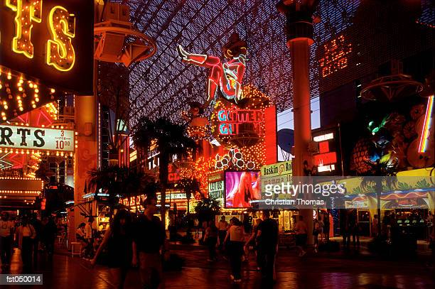 las vegas, nevada, usa, las vegas walkway at night - las vegas stock pictures, royalty-free photos & images