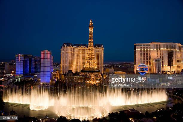 usa, las vegas, nevada, view of bellagio fountain, bally's and paris casinos - las vegas stock pictures, royalty-free photos & images