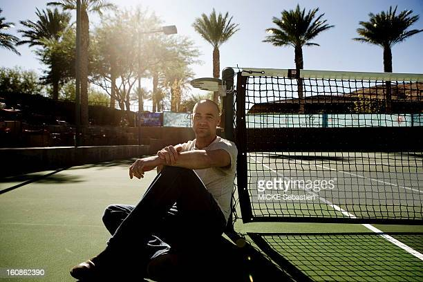 Andre Agassi at a photo shoot with 'Paris Match' at the Red Rock Country Club on the occasion of the release of his autobiography 'Open' in ed Plon...