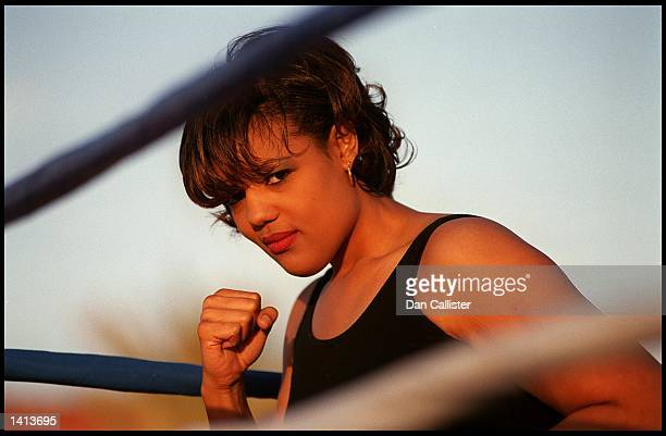 E366916 03/31/00 Las Vegas NV Boxer Freeda Foreman daughter of George Foreman takes a break from training Picture by DAN CALLISTER Online USA Inc