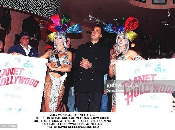Las Vegas, Nv. Steven Seagal At The Official Opening Of Planet Hollywood In Las Vegas See Here With Showgirls.