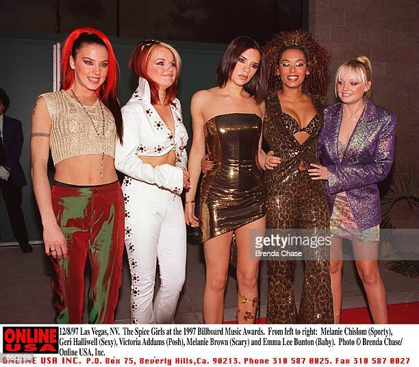 Las Vegas NV The Spice Girls at the 1997 Billboard Music Awards From left to right Melanie Chislom Geri Halliwell Victoria Addams Melanie Brown and...