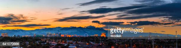 las vegas panorama with snow capped mountain in winter - mt charleston stock photos and pictures