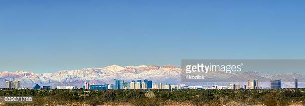 las vegas panorama with snow - mt charleston stock photos and pictures