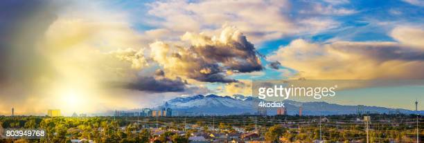 las vegas panorama with storm cloud in the evening - mt charleston stock photos and pictures