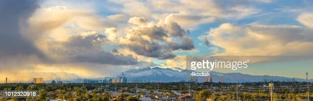 las vegas panorama with storm cloud in winetr - flamingo las vegas stock pictures, royalty-free photos & images