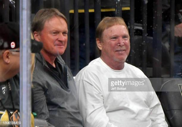 Las Vegas Raiders coach John Gruden and owner Mark Davis attend the game between the Vegas Golden Knights and the St Louis Blues at TMobile Arena on...