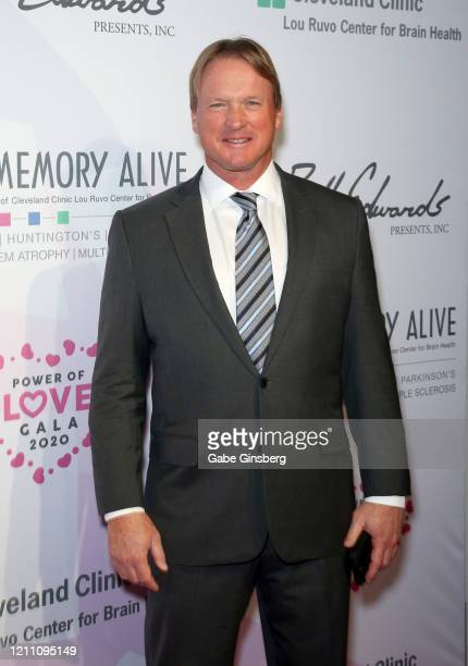 Las Vegas Raiders head coach Jon Gruden attends the 24th annual Keep Memory Alive Power of Love Gala benefit for the Cleveland Clinic Lou Ruvo Center...